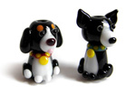 Alfie and Milly dog lampwork beads in black and white glass