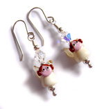 Handmade lampwork angel beads sterling silver findings swarovski crystal