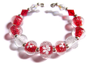 Strawberry fizz red transparent and clear seeded bubbly glass beads