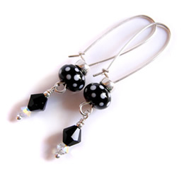 black polka earrings
