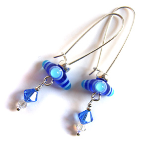 Blue trinity earrings