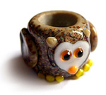 Owl dread bead - speckly brown raku owl with little yellow feet