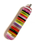 Harlequin stripe stringer and fused glass pendant sterling silver bail