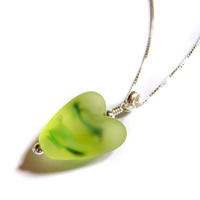 Frosted Umbria green heart pendant
