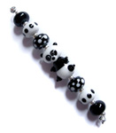 Presley the Panda lampwork beads black and white glass