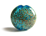 Blue Lentil speckly raku detail handmade lampwork glass beads