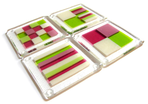 Multi-coloured springtime bullseye fused glass coasters