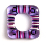 Amethyst stringer and dichroic square donut fused glass pendant