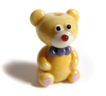 Thomas the teddy lampwork beads soft yellow glass with enamels