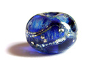 intense blue chagall silver foil and silver frit bead
